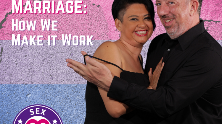 Image of a couple on a bisexual flag background